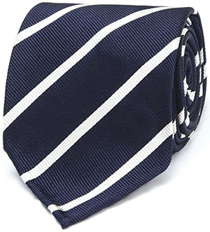Drake's Navy & White Handrolled Woven Super Repp Tie: £125.