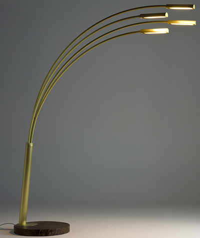 Juncos Floor lighting element in brass (natural bushed or burnished), with 4 LED stripes designed by Emmemobili.