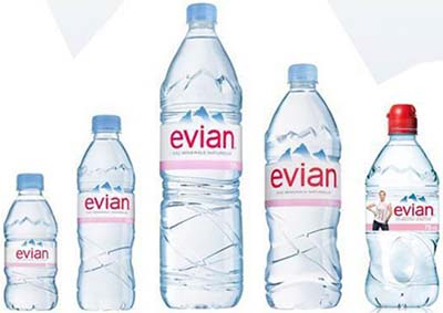 Evian mineral waters.