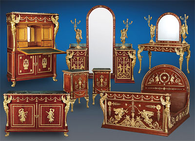 King Farouk Seven-Piece Empire Bedroom Suite crafted by the Parisian <i>ébéniste</i>, Antoine Krieger.