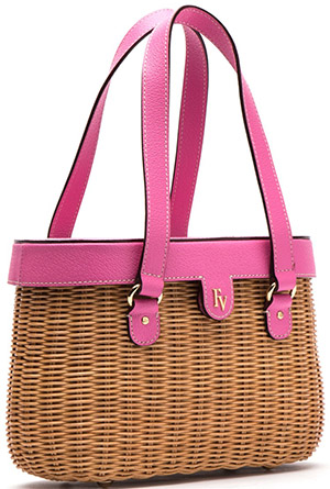 Frances Valentine Arielle Wicker Basket Bag Peony: US$295.