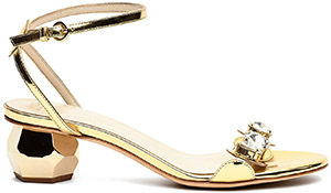 Frances Valentine Beatrix Metallic Leather Sandals Gold: US$495.