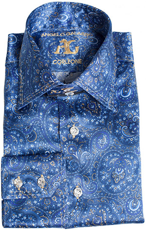 Angelo Galasso Blue Printed Silk Shirt with Swarovski Buttons: €1,300.