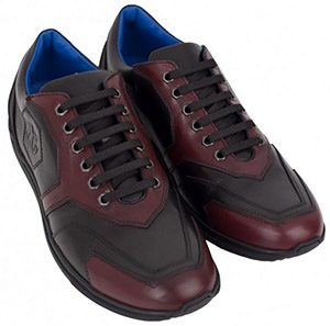 Angelo Galasso Black & Burgundy Leather Sneakers: €550.