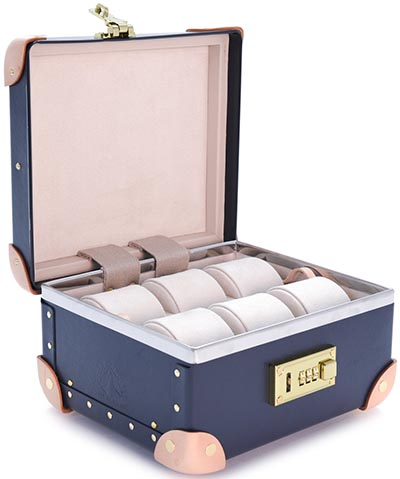 Globe-Trotter Deco 9-inch Watch Case – Navy/Natural: £1,350.