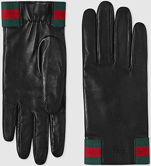 Gucci men's leather gloves with web: US$630.