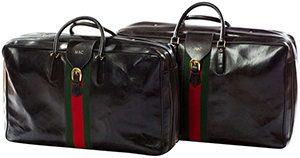 Gucci vintage 1970s Gucci leather luggage set.