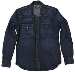 Jean Shop NYC Garth, Crosby western style shirt in washed navy: US$150.