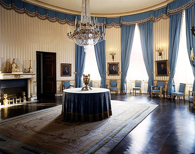 The White House Blue Room as redecorated by Maison Jansen in 1962.