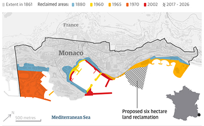 Monaco's reclaimed land. Guardian graphic | Source: Government of Monaco.