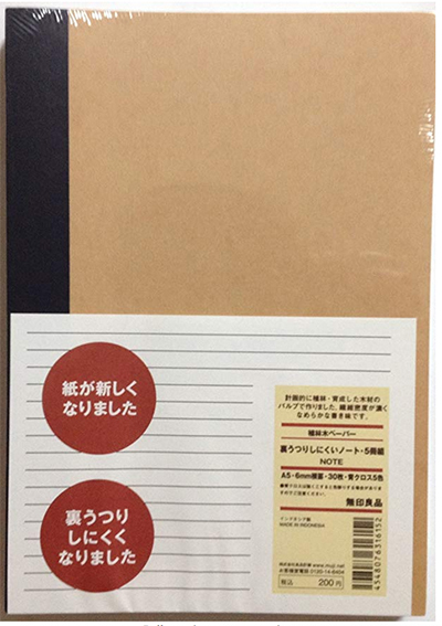 Muji Notebook A5 6mm Rule 30sheets - Pack of 5books: US$10.92.