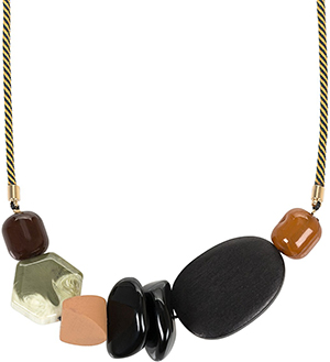 Oliver Bonas Kiowa Wood & Eraser Striped Cord Necklace: US$46.50.