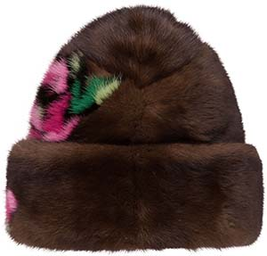 Prada Mink hat with floral intarsia: US$2,700.