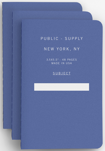 Brooklyn Tailors Public-Supply 3-Pack 3.5-inch × 5.5-inch Notebooks in Blue: US$14.