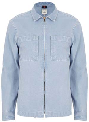 River Island Light blue denim zip up shacket: £38.