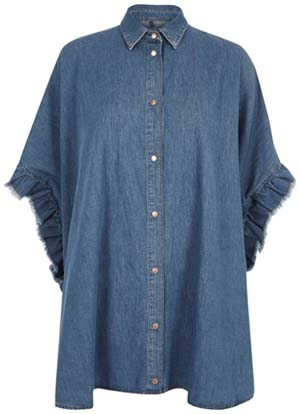 River Island Blue denim frill sleeve oversized shirt: £48.
