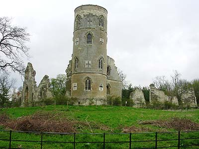 Wimpole's Folly: mock semi-ruined castle designed by Sanderson Miller, in the grounds of Wimpole Hall.