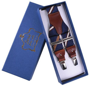 Serà Fine Silk Silk Striped Navy Blue & Brown suspenders: €95.