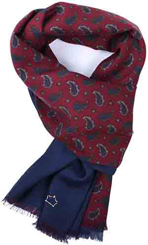 Serà Fine Silk Burgundy Paisley & Navy Blue silk men's silk scarf: €195.