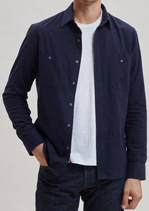 Todd Shelton Brushed Cotton Overshirt Navy men's shirt: US$195.