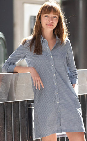Todd Shelton Pebble Navy Check Shirtdress: US$235.