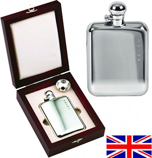 Sterling Silver Victorian Style 4oz Stamped English Hip Flask: £599.99.