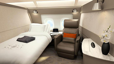 A Business Suite cabin on Singapore Airlines on board Airbus A380.