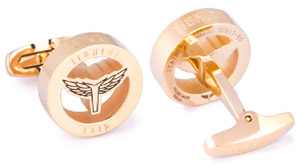 Tibaldi Wings, Yellow Gold, engraved logo with enamel top coat cufflinks.