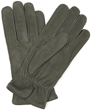 Timothy West Loden Green Nubuck Suede Gloves: £155.