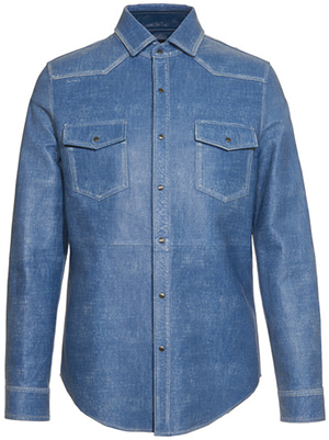 Tod's men's shirt in leather with used-effect denim print: US$3,995.