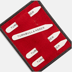 Turnbull & Asser Bone Collar Stays in Black Leather Lined Red Suede Tray: £60.