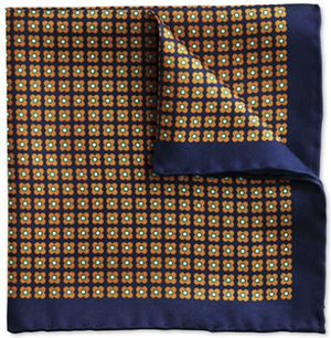 Charles Tyrwhitt Navy & orange classic geometric floral pocket square: US$15.