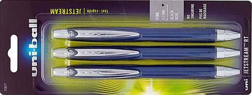 Uni-Ball Jetstream Retractable Ball Point Pens, 0.7mm, Black Ink, 3-Count: US$8.13.