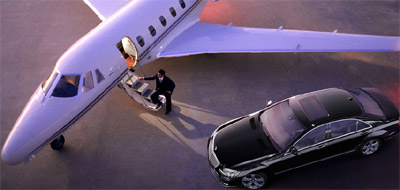 Mercedes-Benz S600 sedan & Learjet.