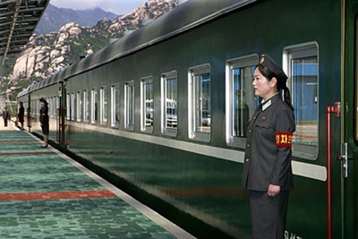 North Korean leaders' trains.