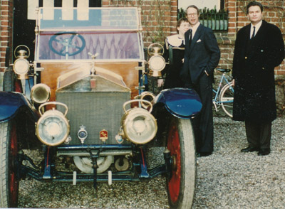 T.I.M.-owner Kim Weiss (far right), Prince Waldermar of Schaumburg-Lipper & Princess Eleonore-Christine of Schaumburg-Lippe next to a Rolls-Royce 40/50 HP Silver Ghost Roi des Belges Tourer (1911) at Aalholm Castle at baron Johan Otto Raben Levetzow's funeral on February 20, 1992.
