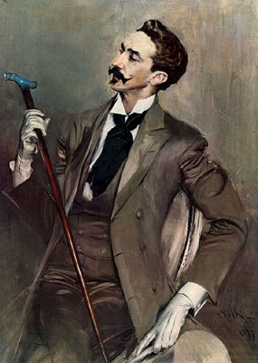 Portrait (1897) by Giovanni Boldini of French poet, writer and dandy, comte Robert de Montesquiou (1855-1921).