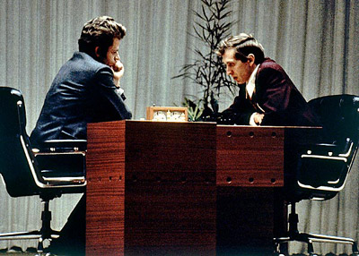 American chess grandmaster Bobby Fischer and Soviet-French chess grandmaster Boris Spassky playing for the world championsship in Reykjavik, Iceland in 1972.