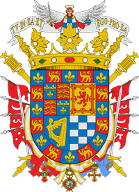 Coat of arms of The Most Excellent The Duchess of Alba de Tormes, Doña María del Rosario Cayetana Fitz-James Stuart y Silva, 18th Duchess of Alba de Tormes, Grandee of Spain.