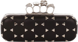 Alexander McQueen Black Optical Stud Skull Knucklebox Clutch: US$2,190.