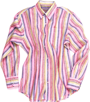 Alexander Julian Energetic Stripe Hidden Buttondown Sport Shirt: US$185.