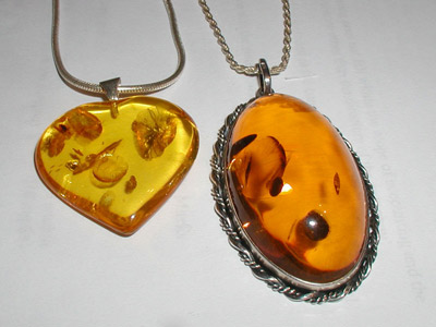 Amber pendants made of modified amber.