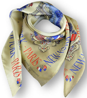 Anne Touraine Twill Silk Scarf - Paris New York - Parchment Beige: US$320.
