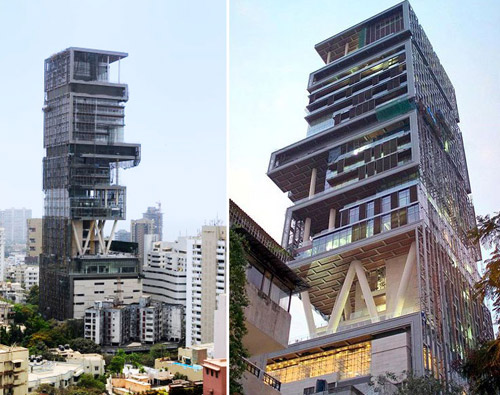 World's largest and most expensive home: Antilia, South Mumbai, India.