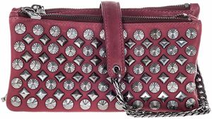 Ash Domino Womens Studded Crossbody Wine Leather: US$195.