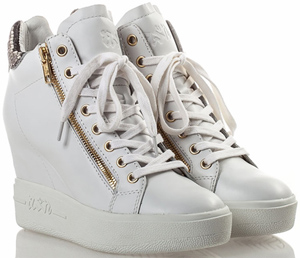 Ash Atomic Womens Wedge Sneaker White Roccia Leather: US$265.