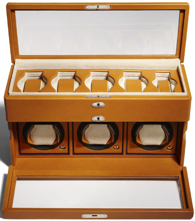 Asprey Three Watch Winder Box, Cinnamon English Saddle Leather: US$4,700.