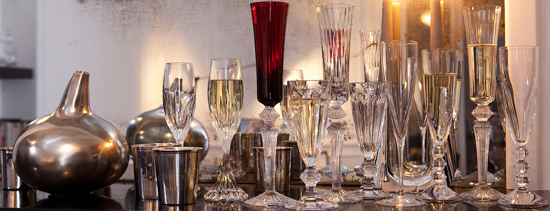 Baccarat champagne flutes & buckets.