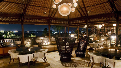The Terrace Bar & Lounge at Four Seasons Resort Jimbaran Bay, Bali.
