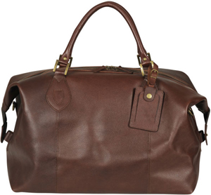 Barbour Leather Medium Travel Holdall - Dark Brown: £279.